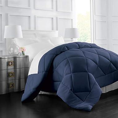 Italian Luxury Goose Down Alternative Comforter - All Season - 2100 Series Hotel Collection - Luxury Hypoallergenic Comforter - King,Cal King - Navy