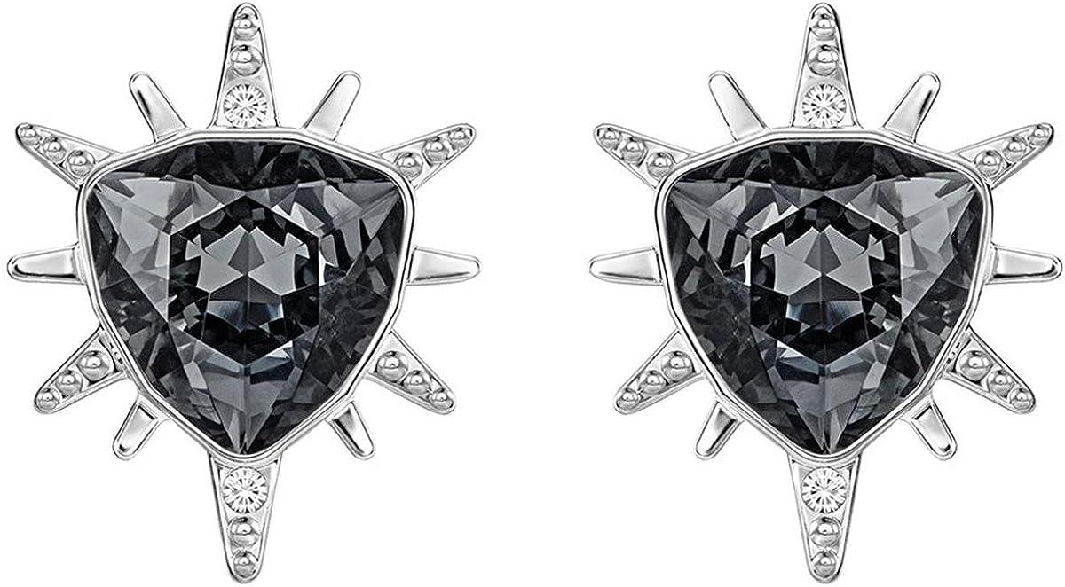 Swarovski 5230607 - Pendientes para mujer (platino, cristal negro, tallado triangular)