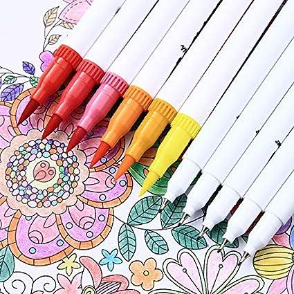 mychoose 24pcs Fineliner Colouring Pens 0.4mm Felt Tip Pens Dual Tip Brush Art Markers Coloured Fine Line Pens Water Color Drawing Pen