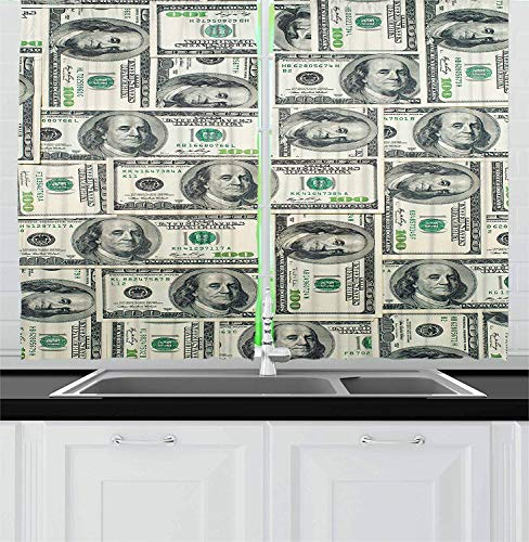 LQQBSTORAGE Money Kitchen Curtains,Dollar Bills of United States Federal Reserve with The Portrait of Ben Franklin Tie Up Shades Rod Blackout Curtains 2 Panel Set W55 x L39/Pair Pale Green Grey ()