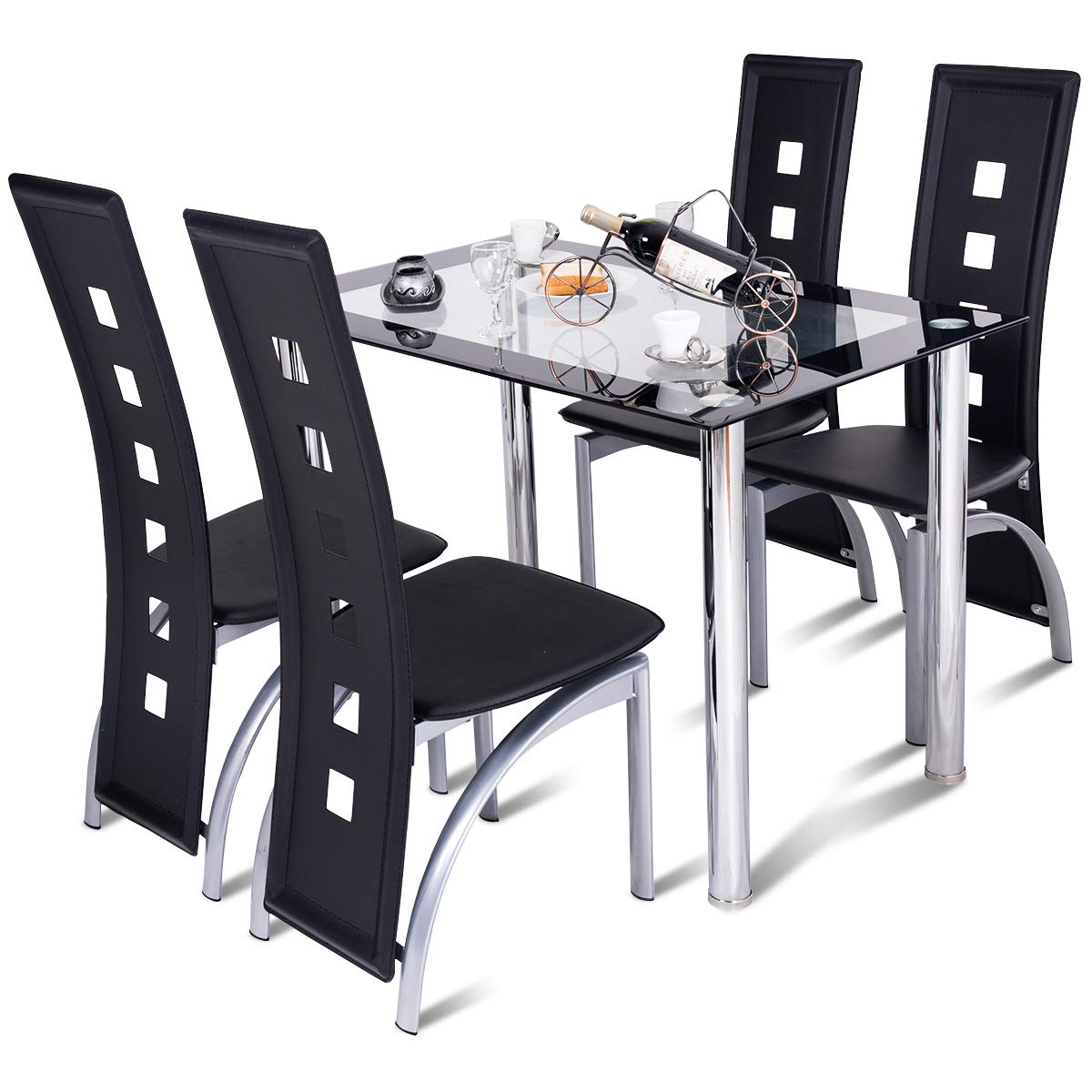 Tangkula Dining Table Set 5 Piece Rectangle Table with Glass Top and 4 Chairs Home Dinette Furniture Kitchen Modern Sturdy Breakfast Table and Chairs Set