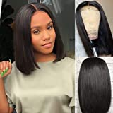Amella Hair Short Straight Bob Wigs Brazilian Virgin Human Hair Lace Closure Wigs Human Hair Wig (8 inch) 4x4 Lace Part…