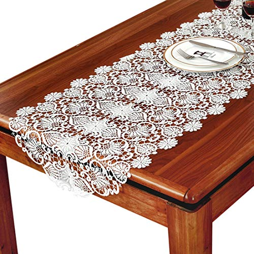 JINGB Home Table Flags Translucent Gauze Wedding Party Decoration 20 x 60 inch appro Home White Classic European Style Hollow Embroidery Lace Table Runner - Flags Translucent