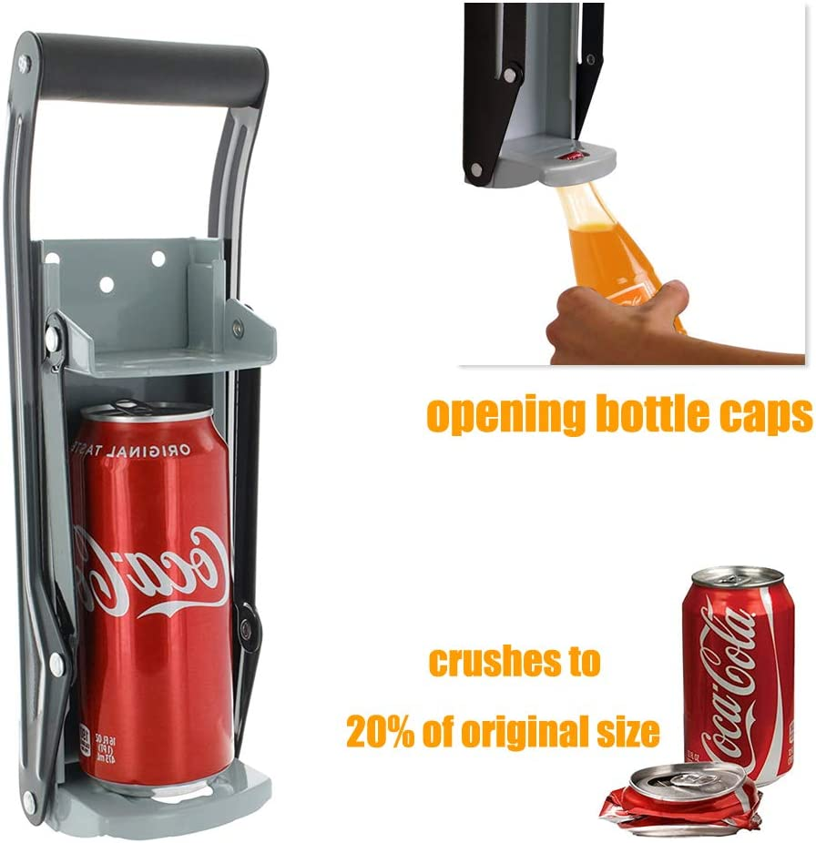 Wall Mounted Aluminum Can Smasher Recycling Tool for Soda Beer Cans with Bottle Opener Metal Can Crusher 16 oz Grey