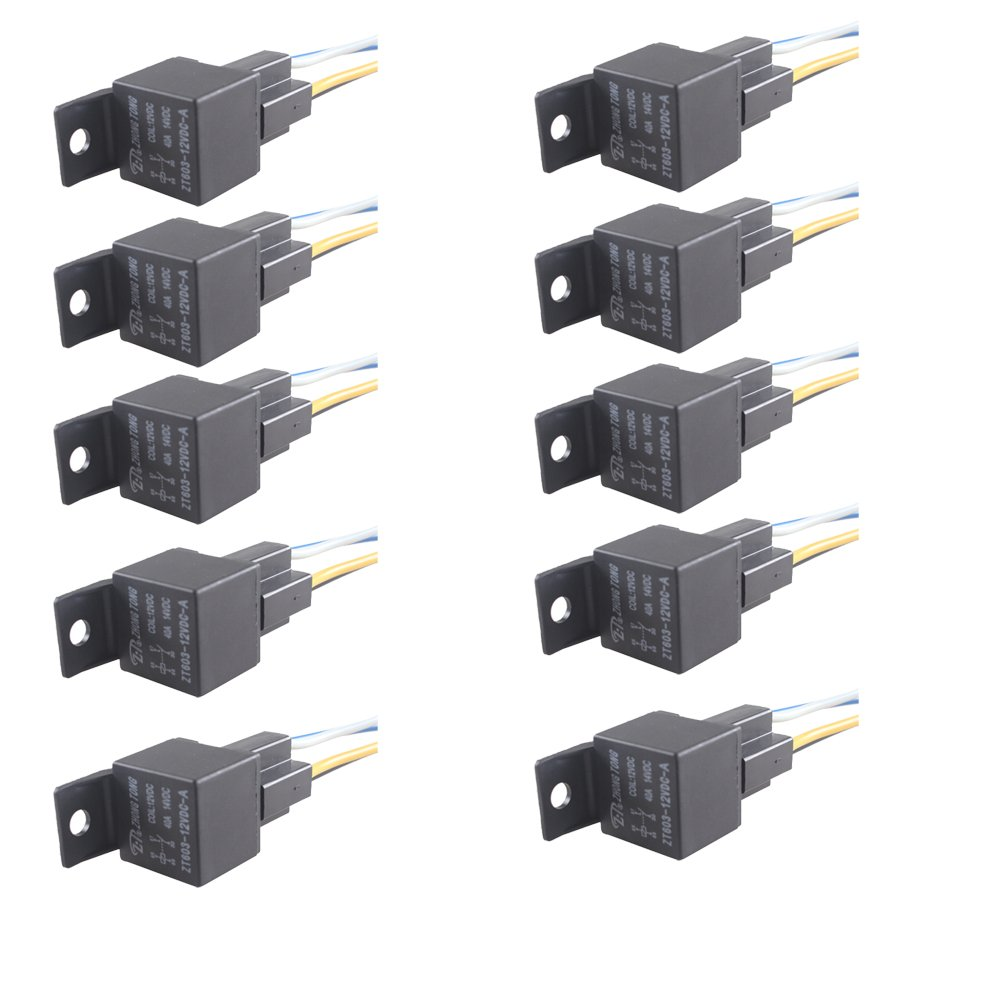 E Support Car Relay 12v 40a Spst 4pin Socket Pack of 10