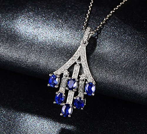 Solid 18k White gold Pendant,0.18ct SI-H Diamond pendant for necklace,1.55ct Oval Natural Blue Sapphire,Prong - Si 0.18 Ct Diamond