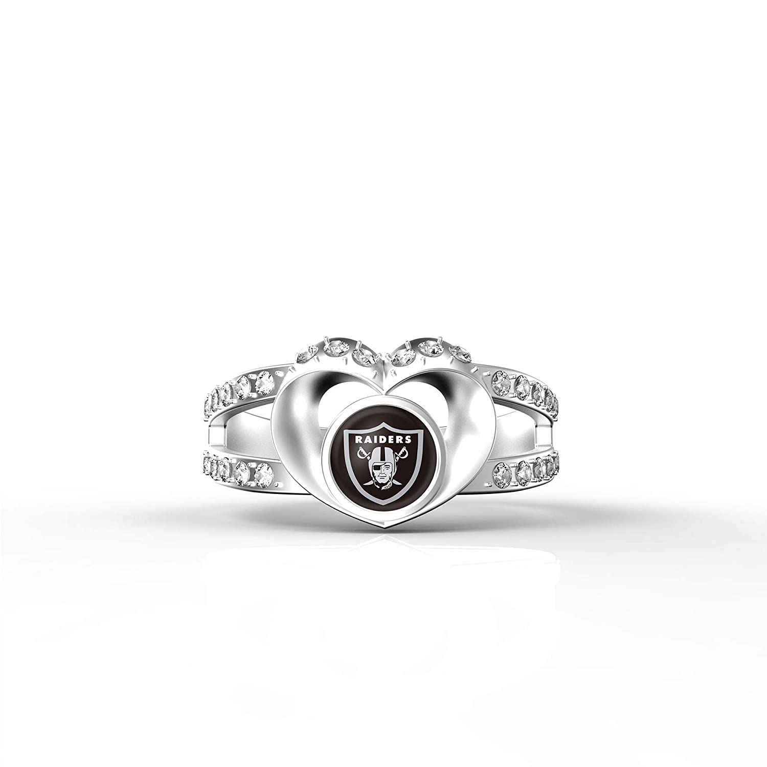 MT Sports store NFL Heart Shaped Lady Ring Lady Exquisite Heart Shaped Ring Oakland Raiders