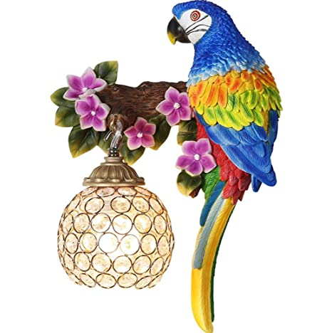 Led Lamps Modern Parrot Wall Lamp Bedroom Bedside Wall Light Retro Hallway Wall Sconce Entrway Decoration Lights For Living Room