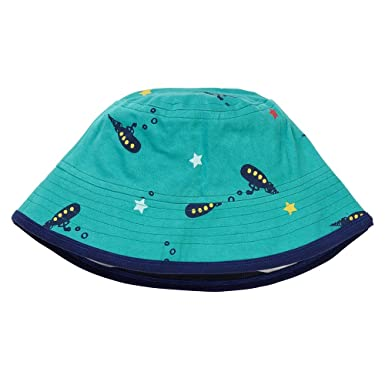 31387169704f Piccalilly Boys Reversible Summer Sun Hat Organic Cotton Teal Navy  Submarine  Amazon.co.uk  Clothing