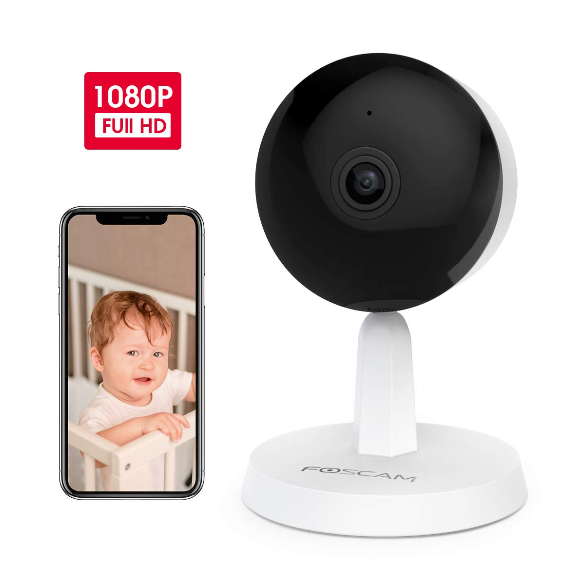 Baby Monitor,Foscam X1 1080P Wireless Smart Home Security Pet Camera with AI Human Detection, Sound Detection, One-Button Call, 2-Way Baby Monitor Audio, Free Cloud Storage Included