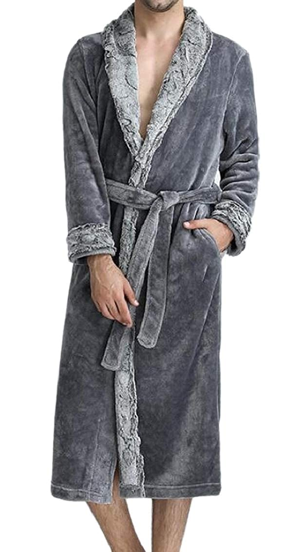 Jaycargogo Mens Home Plush Bathrobe Spa Robe Turkish Soft Loungewear
