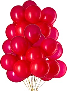 12 Inch Red Balloons Latex Helium Party Balloon,Pack of 50