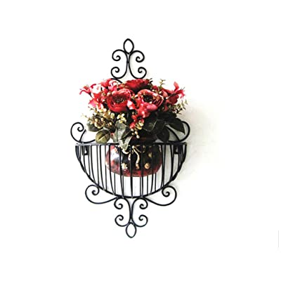 Patio Furniture-CSQ Vintage Flower Stand, Wall Decoration Wall-Mounted Metal Flower Basket Bathroom Dorm Room Living Room Storage Shelf Plant Container Accessories: Garden & Outdoor