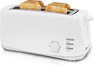 """Maxi-Matic ECT-4829 Long Cool Touch 4-Slice Toaster with Extra Wide 1.25"""" Slots for for Bagels, Waffles and Specialty Breads, Cancel, Reheat, Defrost 6 Shade Settings, White (Renewed)"""