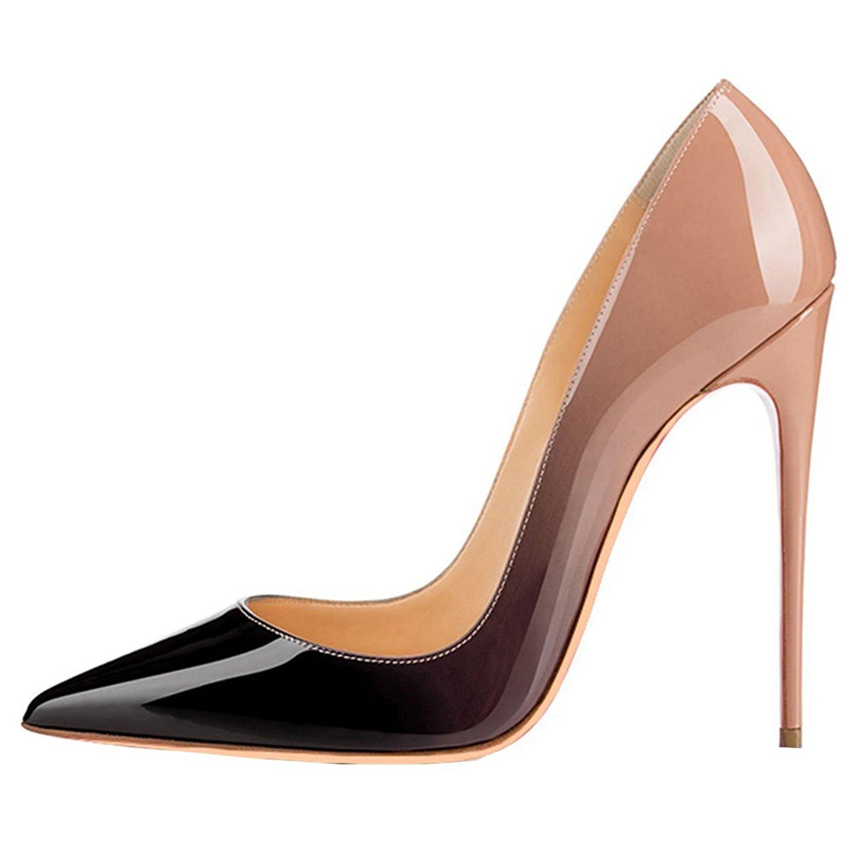 Emiki - Zapatos de Tacón Mujer EU38 Beige Negro