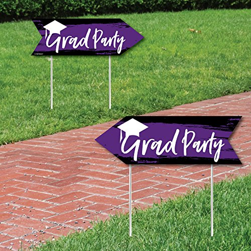 (Purple Grad - Best is Yet to Come - Purple Graduation Party Sign Arrow - Double Sided Directional Yard Signs - Set of 2 )