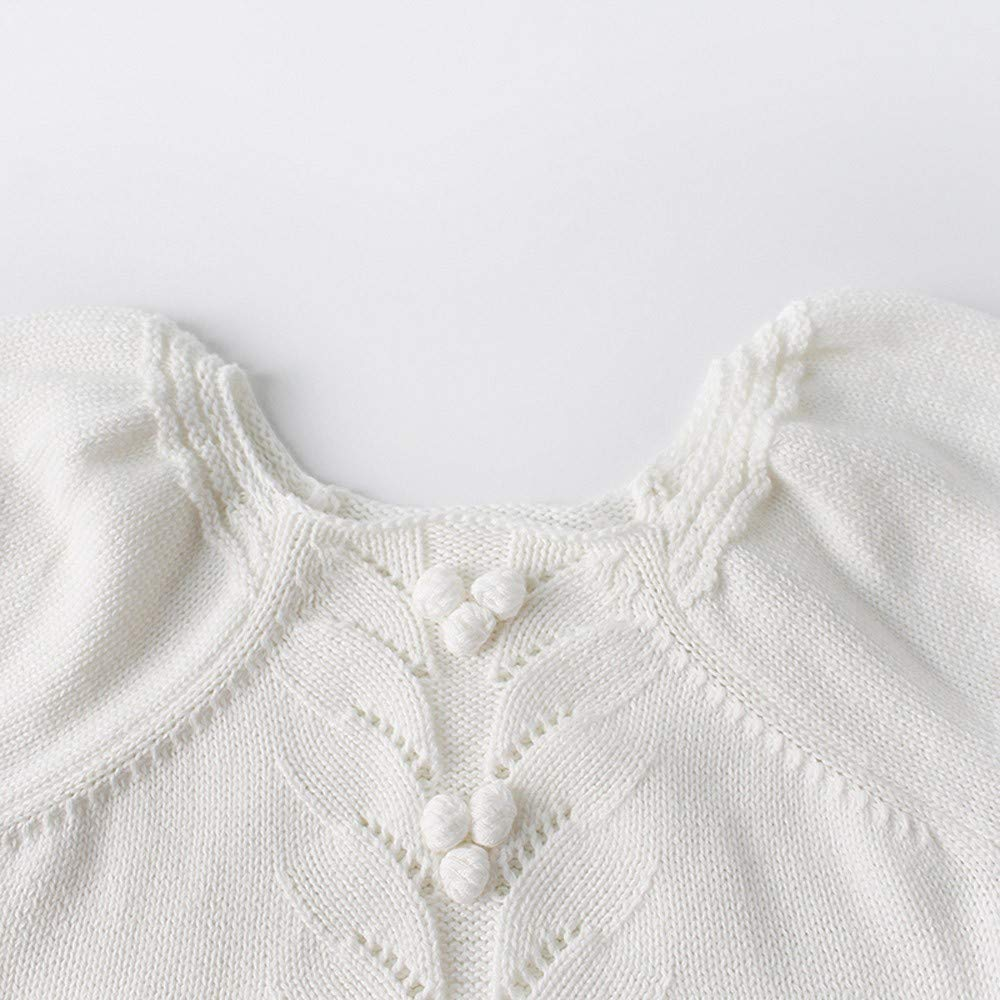 NUWFOR Newborn Baby Girls Boys Knitted Toddler Puff Sleeves Jumpsuit Clothes Outfits(White,12-18Months) by NUWFOR (Image #3)