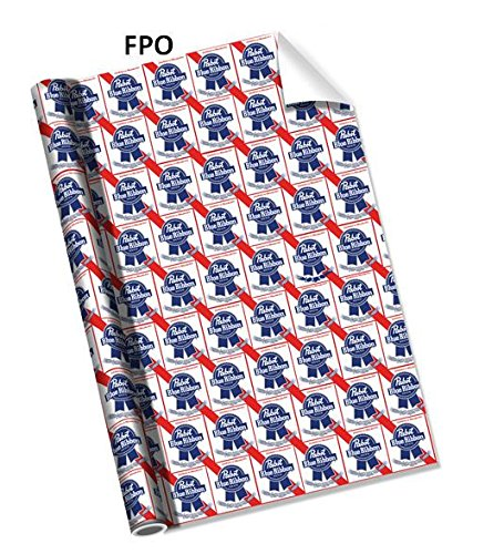 Pabst Blue Ribbon PBR Beer Red, White, and Blue Wrapping Paper - 1 Roll