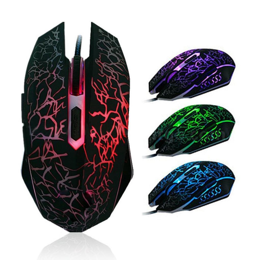 STRIR Rat/ón Gaming con Cable hasta 4000 DPI Rat/ón Ergon/ómico /Óptico para Juegos con 7 Colores Luz LED 6 Bot/ón Gaming Mouse Wired para PC Ordenadores Port/átil Mac