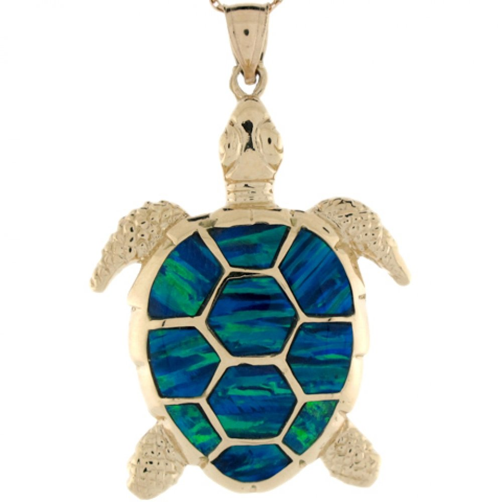 14k Solid Gold 4.7cm Blue Green Simulated Opal Detailed Turtle Charm Pendant