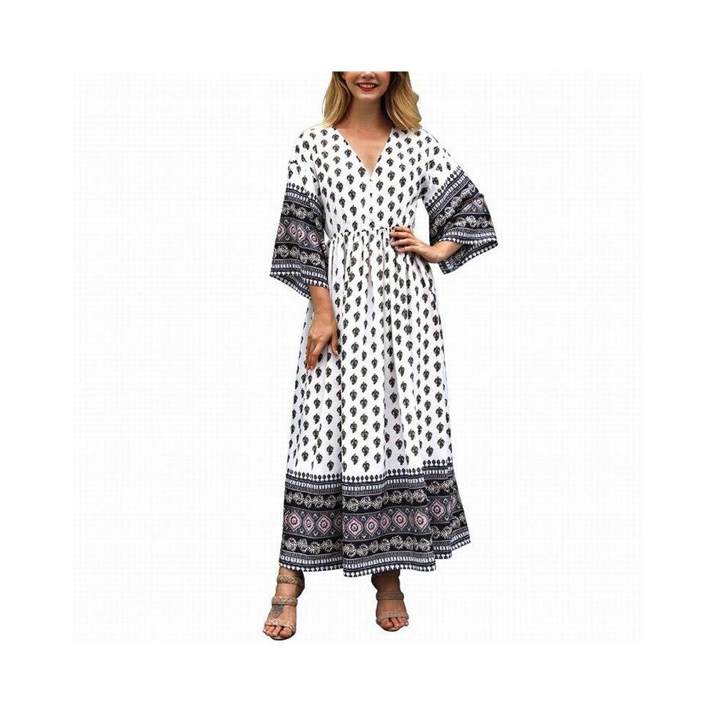 bluee ProBikeUS Women's Long Sleeve Vneck Digital Printing Long Maxi Dress