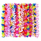 36 Pack Hawaiian Leis, Tropical Hawaiian Luau Flower Lei Party Supplies 3 Dozen with Multicolor and Vibrant Floral Design for Theme Party Event Decorations by WEfun