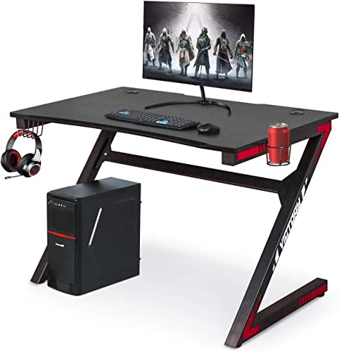 Gaming Computer Desk with Large Carbon Fiber Surface Cup Holder Headphone Hook for Home or Office, Gaming PC Desk Table Black red