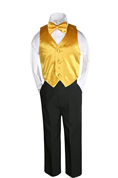 Amazon.com: unotux 4 Pcs Formal Boys Amarillo Chaleco de ...