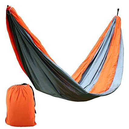 Orange,Gray,#6 : Generic Beach Yard, Parachute Nylon, Double Nest, Swing, Relaxing Bed, Lightweight Portable, Hanging, Hammock with, Carabiners