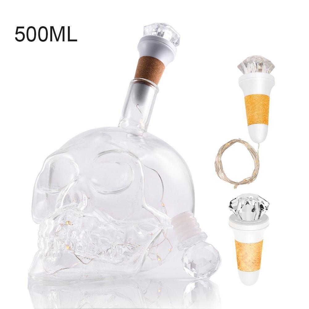 navigatee Bouteille en Verre de Decanter, Bouteille créative drôle de crâne en Cristal de tête de crâne et Vodka Gothique de vin avec Le décanteur pour Le Bourbon, Vodka, Bouteille en Verre de Carafe