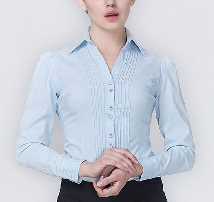 Amazon.com  Soojun Women s Long Sleeve Easy Care Work Bodysuit Shirt ... 5adbdf4e4
