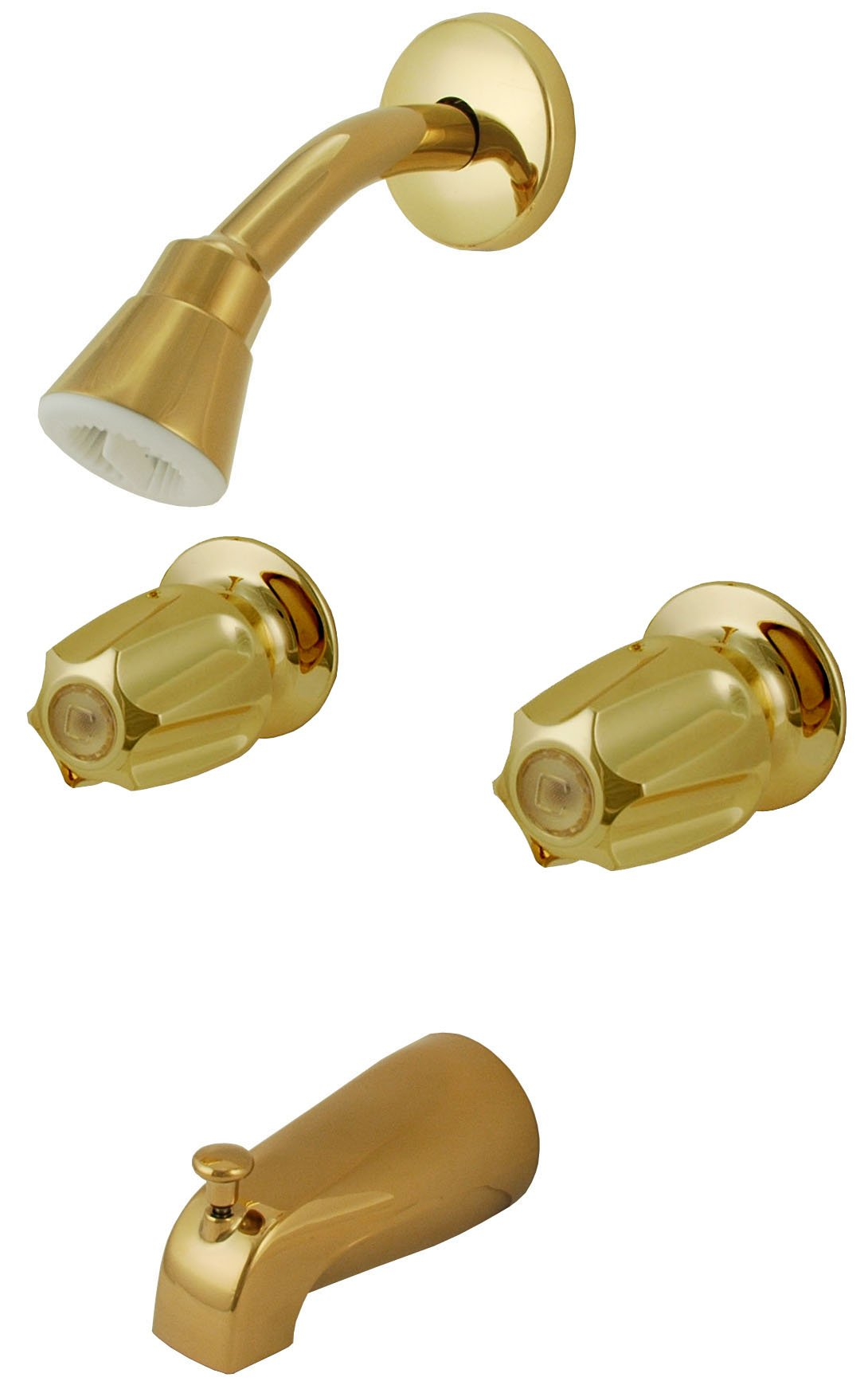 8'' Two-way Tub & Shower Valves, Polish Brass Finish, Compression Stems, Verve Handles - By Plumb USA 34200pvd by PlumbUSA