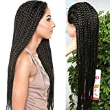 3X Micro Box Braids Front Lace Wigs 14 32inch Box Baided Wigs Bob Style Lace Front Wig Ombre 350 Purple Bob Braided Lace Wig With Baby Hair Synthetic Heat Resistant Box Braids Wigs (32inch, black)