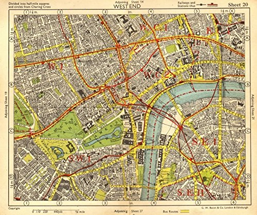 LONDON WEST END. Soho Mayfair Marylebone Lambeth Holborn. BACON - 1955 - old map - antique map - vintage map - London - Mayfair Map London