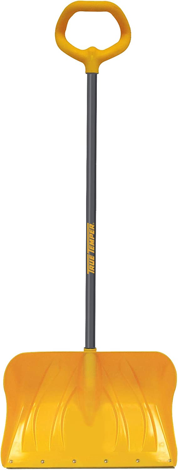 True Temper 1649800 VersaGrip Poly Snow Pusher with Straight D-Grip Steel Handle 20 Inch