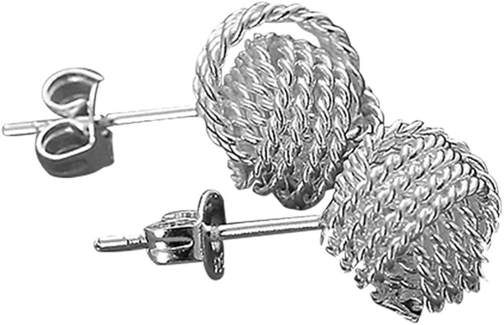 Amesii - Pendientes de tuerca para mujer, plata maciza, diseño de bola de malla