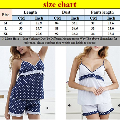 Zhhlaixing Womens Lovely Dots Sling Pajamas Set Summer Two pieces Casual Nightwear Pale Blue
