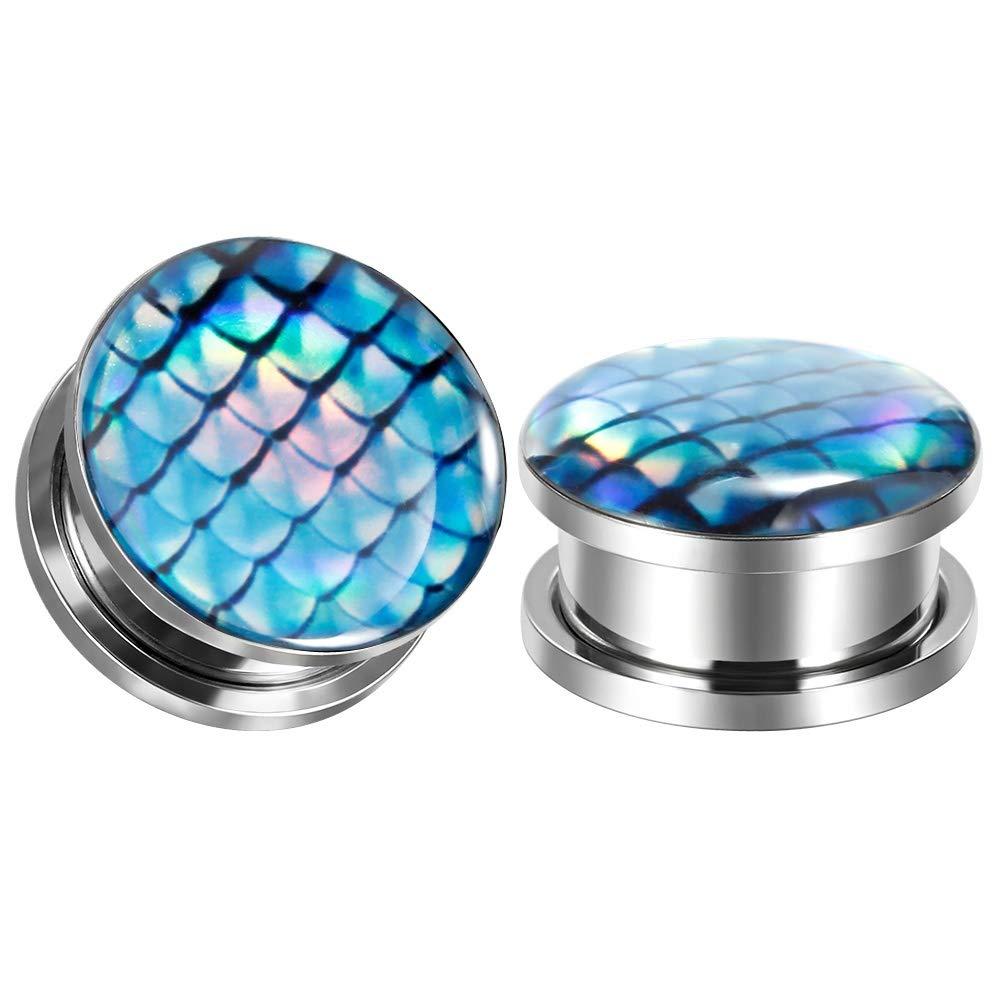 1-3//16 inch TBOSEN 10 Pcs Stainless Steel Screw Fit Epoxy Ear Plug Flesh Piercing Jewelry Ear Gauges Plugs 2g