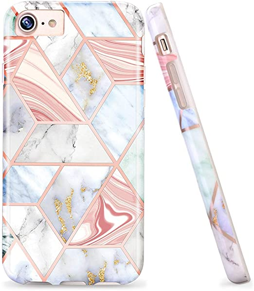 LUOLNH Compatible with iPhone 5s case,Bling Glitter Sparkle Rose Gold Marble Design Clear Bumper Glossy TPU Soft Rubber Silicone Cover Phone Case for ...