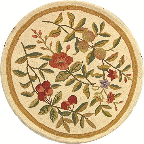 Safavieh Chelsea Collection HK210A Hand-Hooked Ivory Premium Wool Round Area Rug (3' (Rose Round Hooked Rug)