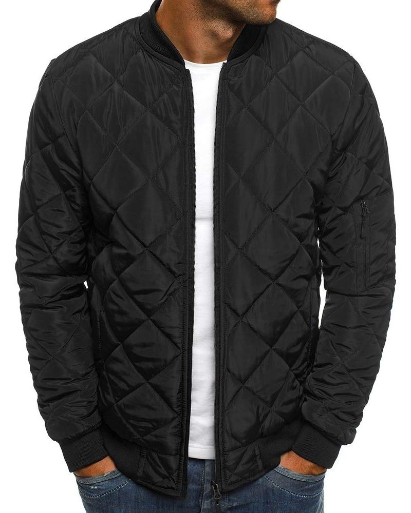 Mens Bomber Quilted Jackets Varsity Diamond Baseball Fall Pilot Sport Hip Hop Winter Coats by Pretifeel