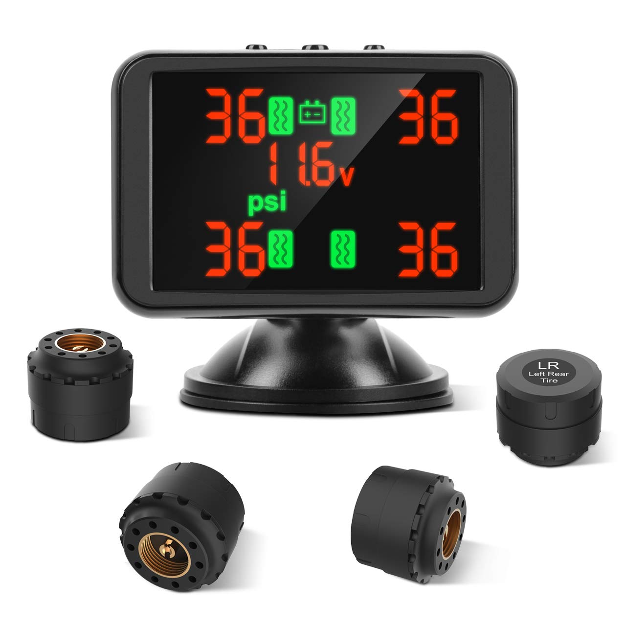 Tymate TPMS Wireless Tire Pressure Monitoring System, 3.7inch LCD Screen Real-time Displays 4 Tires' Pressure and Temperature, 4pcs External Sensors (0-8.0 BAR/0-116 PSI), Real-time Alarm Function by Tymate