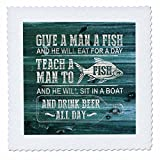 3dRose Russ Billington Designs - Funny Fishing Design in White on Blue Weatherboard- Not Real Wood - 20x20 inch quilt square (qs_262076_8)
