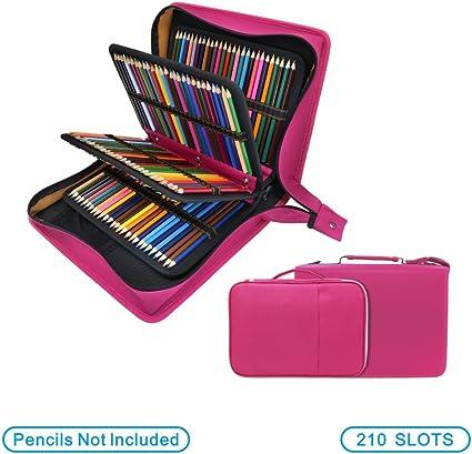 YOUSHARES - Estuche para lápices de colores de piel sintética con 200 + 16 compartimentos, gran capacidad, para lápices de colores Prismacolor, lápices de colores Crayola(rojo): Amazon.es: Oficina y papelería