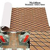 Teak Decking Sheet,SONSAN 6mm 70x190cm EVA Foam Brown Black Rhombus Boat Flooring Faux Teak Sheet Pad