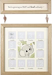 Precious Moments 192106 You're Growing So Fast Baby's 1st Year Photo Frame, One Size, Tan