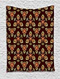asddcdfdd Antique Tapestry, Classical Floral Arabesque Islamic Pattern in Vibrant Colors Artsy Image, Wall Hanging for Bedroom Living Room Dorm, 40WX60L Inches, Gold Chestnut Brown