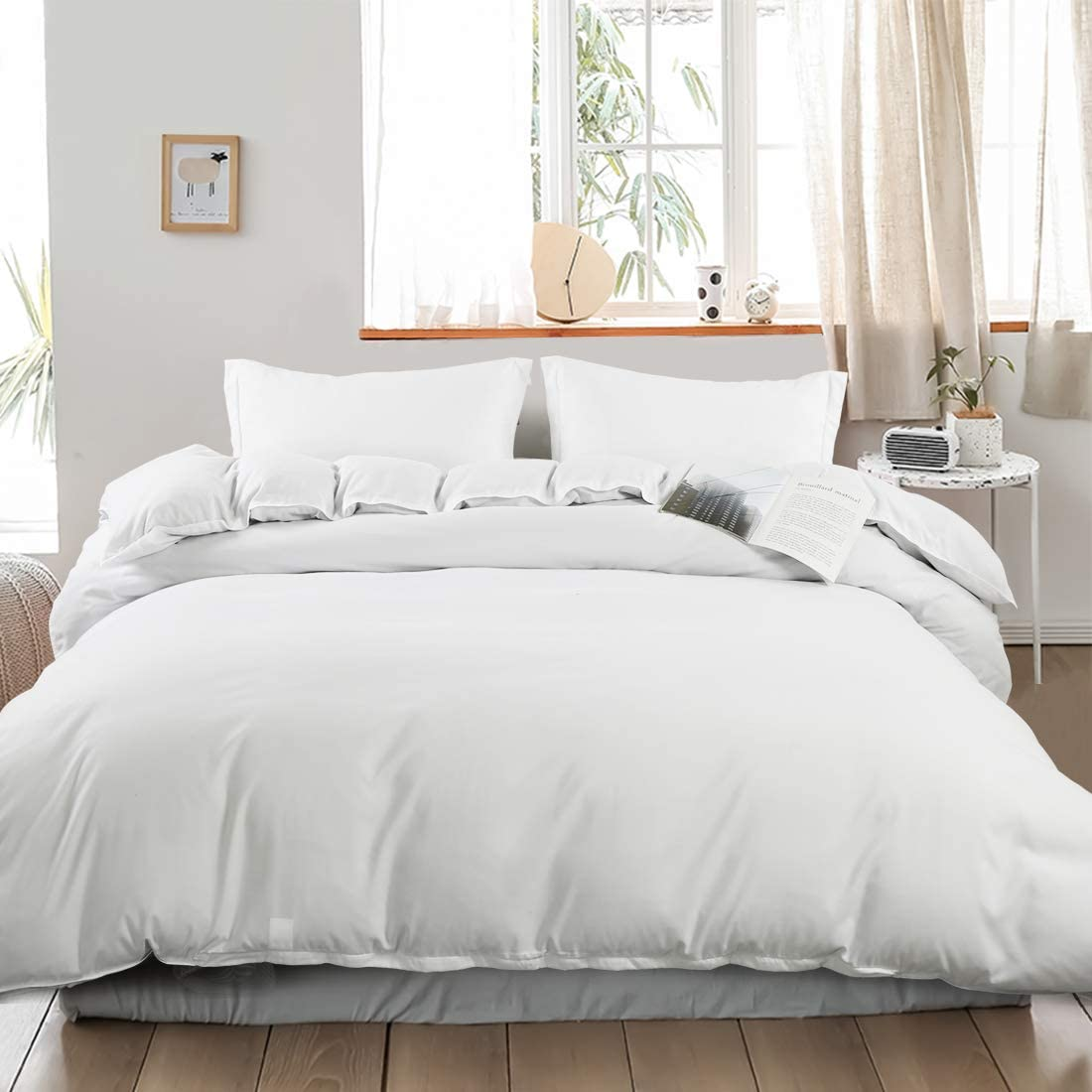 INGALIK 3-Piece Queen Duvet Cover Set Washed Microfiber Simple Style Bedding Set with Zipper Closure Soft and Easy Care Hotel Quality Duvet Cover Plus 2 Pillow Shams White