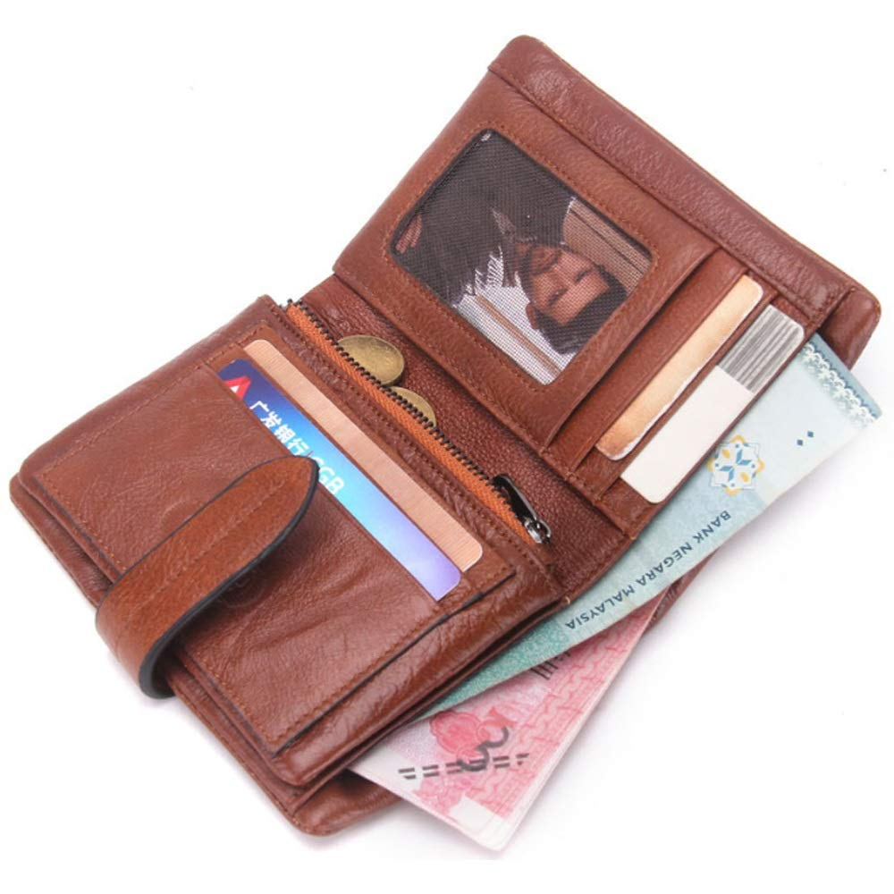 Color : Brown, Size : S DAYIYANG Special Design Mens Wallet Leather Top Layer Cowhide Fashion Casual Mens Bag