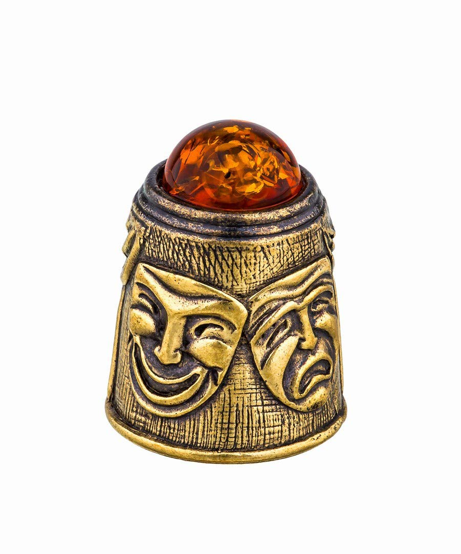 Amber and Brass Collectible Thimble (Theater) Decorative Souvenir Thimbles. Antique and Vintage Designs from Kaliningrad, Russia.Packed in a Beautiful Siberian Birch Bark Gift Box(Random Selection) by Brass and Amber Art